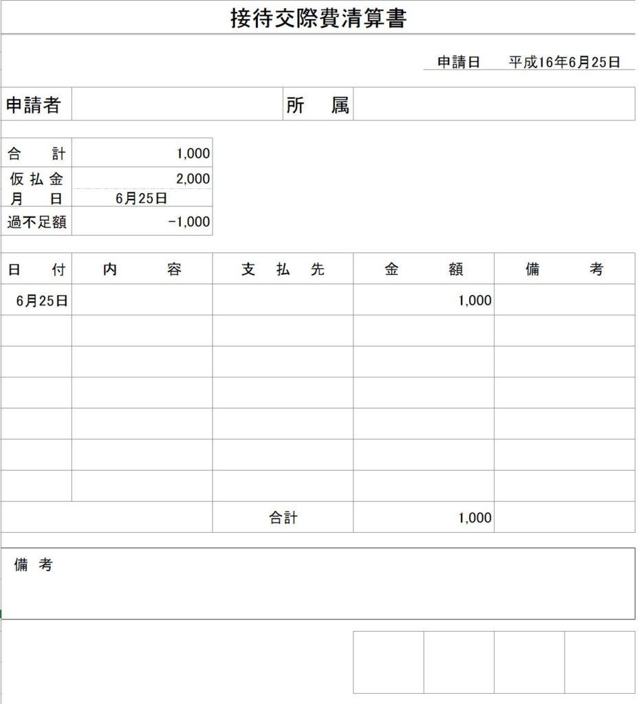 エクセルで作った接待交際費清算書