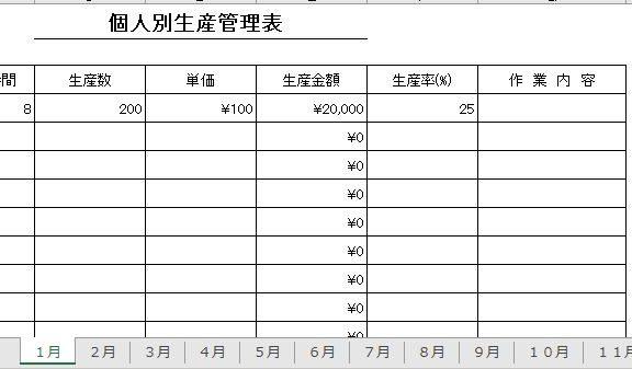 エクセルで作った個人別生産管理表