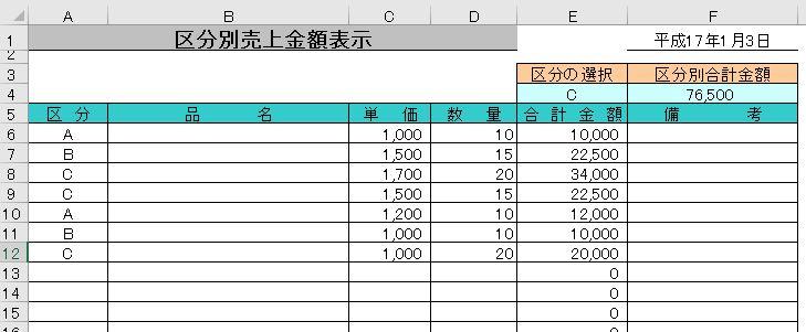 エクセルで作った区分別売上金額表示