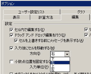 オプションの編集設定(エクセル)
