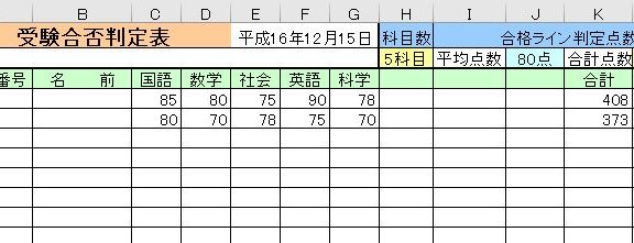エクセルで作った受験合否判定表