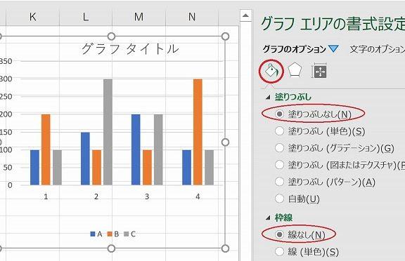 エクセルのグラフの背景を透明化