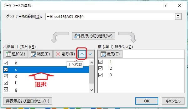 データソースの選択で順序の入れ替え