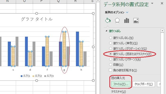 グラフの系列の書式設定メニュー