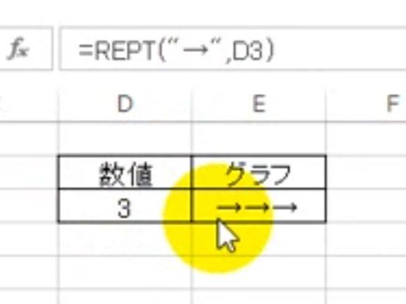 エクセルで文字のグラフを作る