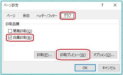 エクセルのモノクロ印刷用ページ設定