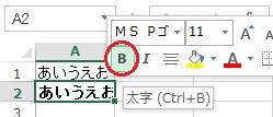 エクセルの文字を太字にする