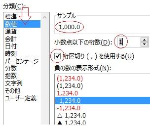 数値を桁区切りの表示に変える