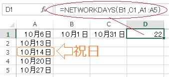 エクセルのNETWORKDAYSの利用例