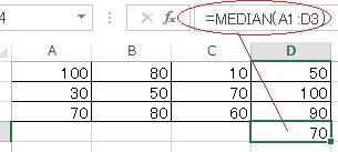 エクセルのMEDIAN関数の使い方