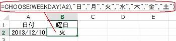 CHOOSE関数の使い方の実例