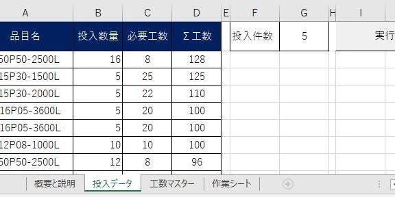 エクセルでラインに必要な生産工数を表示