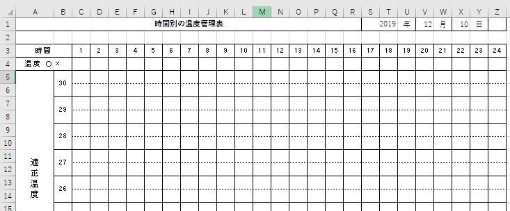 エクセルで時間別の温度管理ができる表