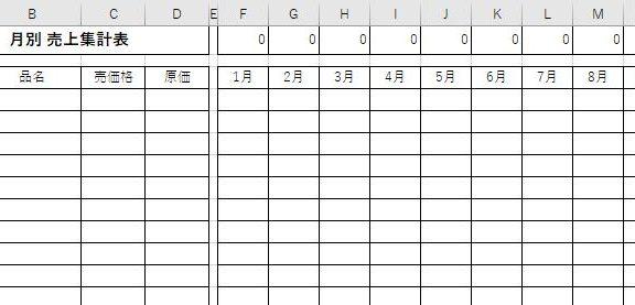 エクセルの月別 売上集計表テンプレート