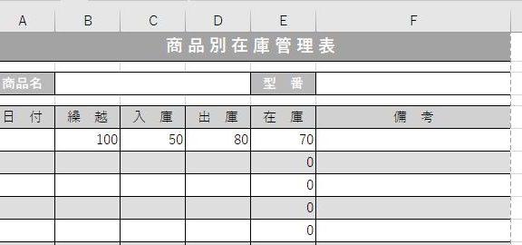 エクセルで作った在庫表
