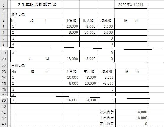 エクセルの会計報告書