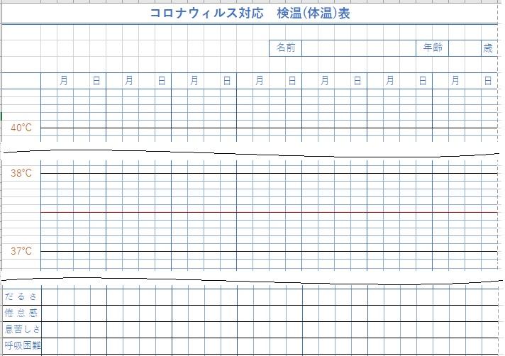 エクセルで作った体温・検温表・コロナ対応