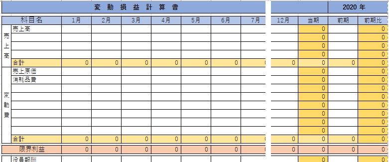 エクセルの変動損益計算書テンプレート