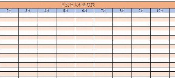 エクセル日別の仕入金額表テンプレート
