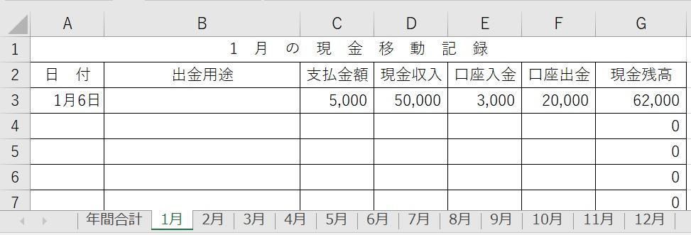 毎月の現金管理