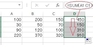 列方向の式もコピーして総合計を表示する